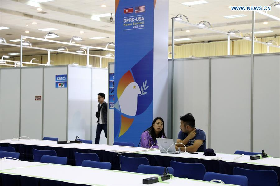 People work at the International Media Center for the second summit between the Democratic People\'s Republic of Korea (DPRK) and the United States in Hanoi, Vietnam, on Feb. 24, 2019. The second DPRK-U.S. summit is scheduled to be held in Hanoi on Feb. 27-28. (Xinhua/Wang Di)