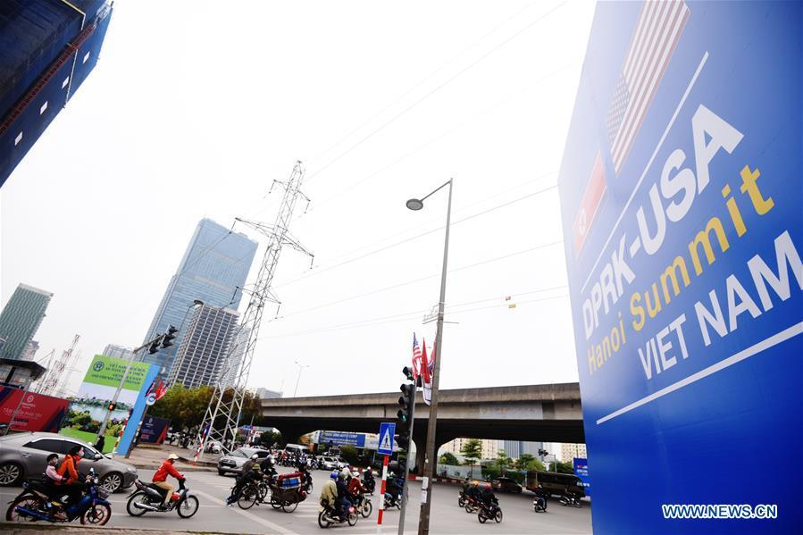 Photo taken on Feb. 25, 2019 shows a billboard of the DPRK-U.S. summit in Hanoi, Vietnam. The second summit between top leader of the Democratic People\'s Republic of Korea (DPRK) Kim Jong Un and U.S. President Donald Trump will be held in Hanoi on Feb. 27-28. (Xinhua/Wang Shen)