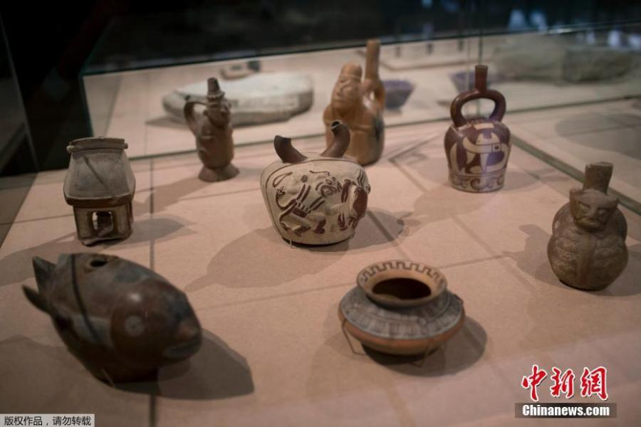 Ceramic pieces from Pre-Columbian cultures rescued from the ashes of last year\'s fire at the National Museum on display in Rio de Janeiro, Brazil, Feb. 25, 2019. The exhibit is titled \