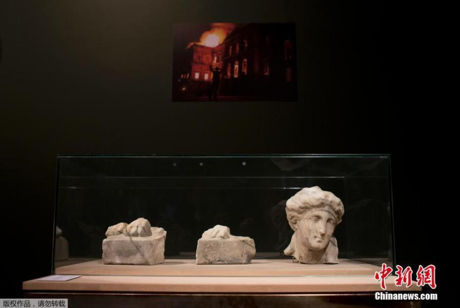 Pieces rescued from the ashes of last year\'s fire at the National Museum are displayed at the Bank of Brazil Cultural Center in Rio de Janeiro, Brazil, Feb. 25, 2019. The exhibit is titled \
