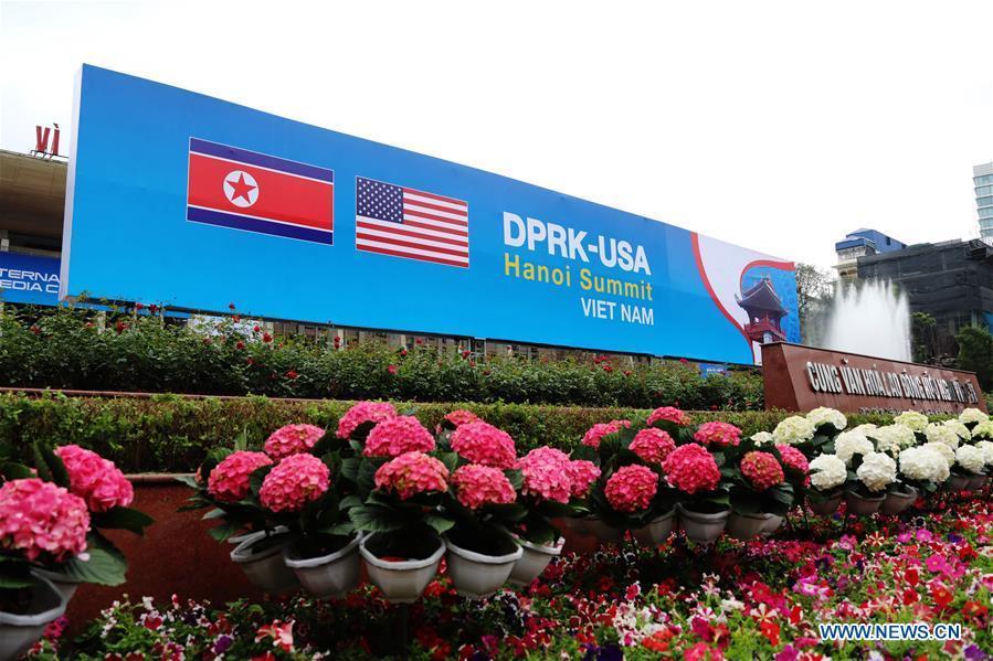Photo taken on Feb. 25, 2019 shows a billboard of the DPRK-U.S. summit in Hanoi, Vietnam. The second summit between top leader of the Democratic People\'s Republic of Korea (DPRK) Kim Jong Un and U.S. President Donald Trump will be held in Hanoi on Feb. 27-28. (Xinhua/Wu Xiaochu)