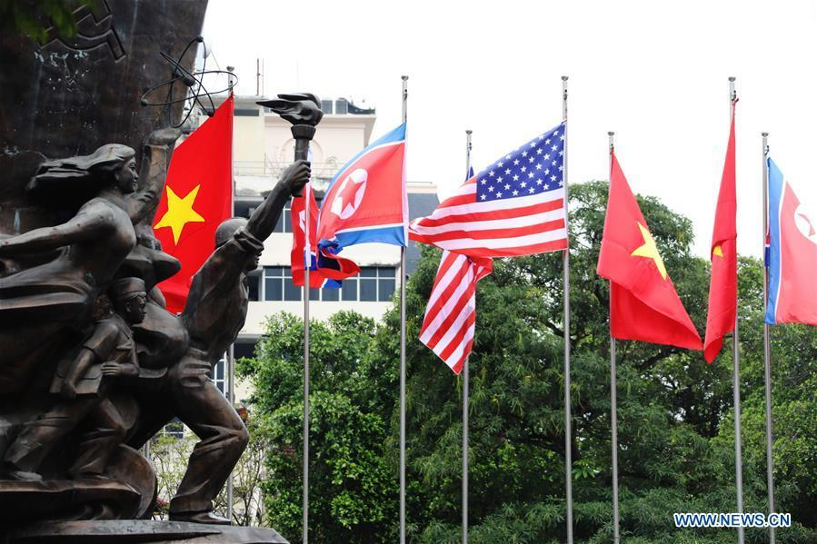 Photo taken on Feb. 25, 2019 shows national flags of Vietnam, the DPRK and the United States in Hanoi, Vietnam. The second summit between top leader of the Democratic People\'s Republic of Korea (DPRK) Kim Jong Un and U.S. President Donald Trump will be held in Hanoi on Feb. 27-28. (Xinhua/Wu Xiaochu)