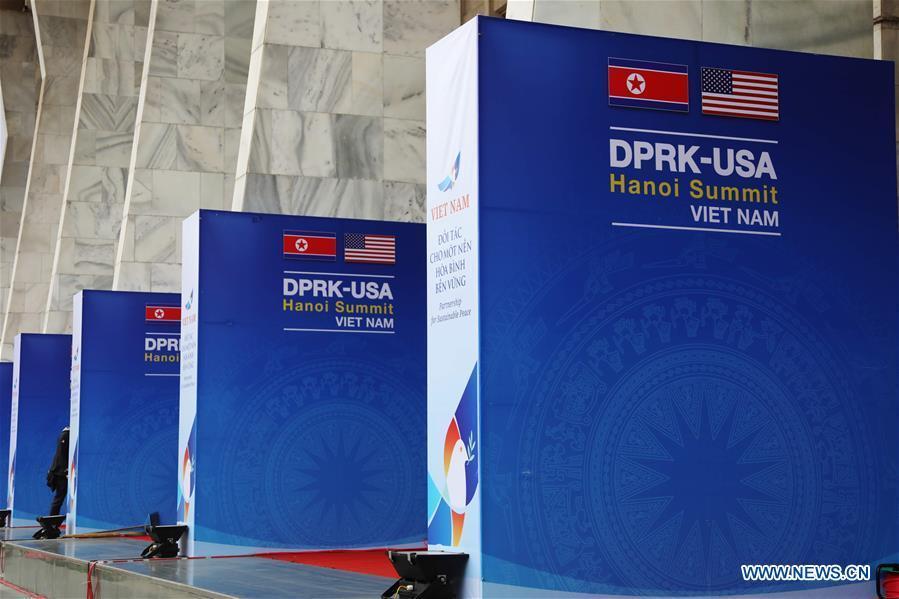 Photo taken on Feb. 25, 2019 shows billboards of the DPRK-U.S. summit in Hanoi, Vietnam. The second summit between top leader of the Democratic People\'s Republic of Korea (DPRK) Kim Jong Un and U.S. President Donald Trump will be held in Hanoi on Feb. 27-28. (Xinhua/Wu Xiaochu)
