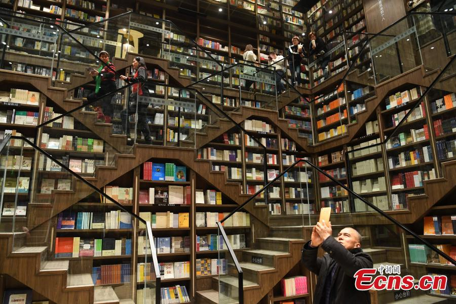 A view of the full bookshelves at a bookstore in Chongqing southwestern China, Feb. 25, 2019.  The newly opened bookstore in Chongqing southwestern China has attracted over 200,000 visitors since it opened on Jan. 25.