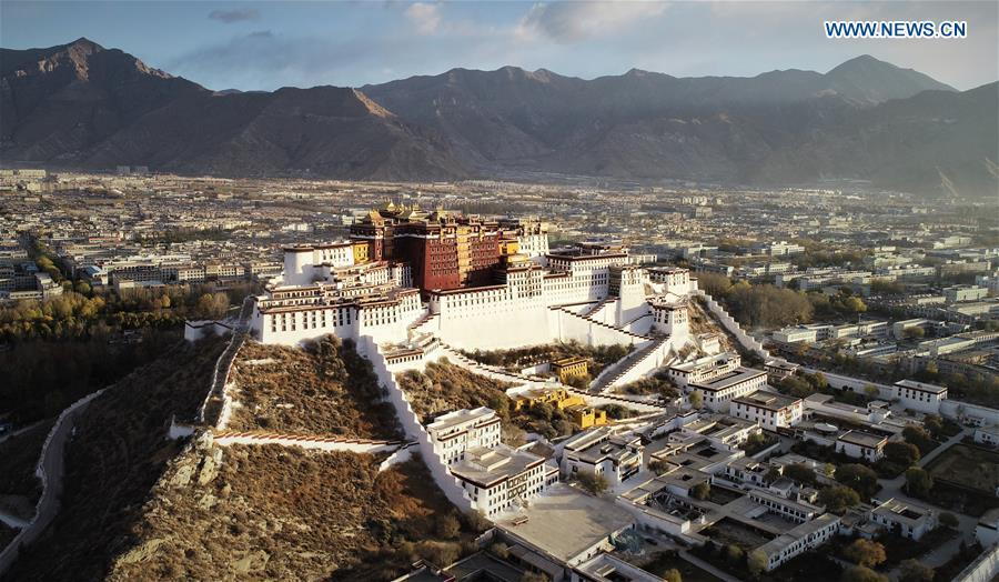 Aerial photo shows the Potala Palace in Lhasa, capital of southwest China\'s Tibet Autonomous Region, Nov. 15, 2018. The Chinese government will invest 300 million yuan (44.9 million U.S. dollars) in the next 10 years in its greatest efforts of protection and utilization of ancient documents in the Potala Palace, a World Heritage site in Lhasa, southwest China\'s Tibet Autonomous Region, according to the management office of the Potala Palace. (Xinhua/Purbu Zhaxi)