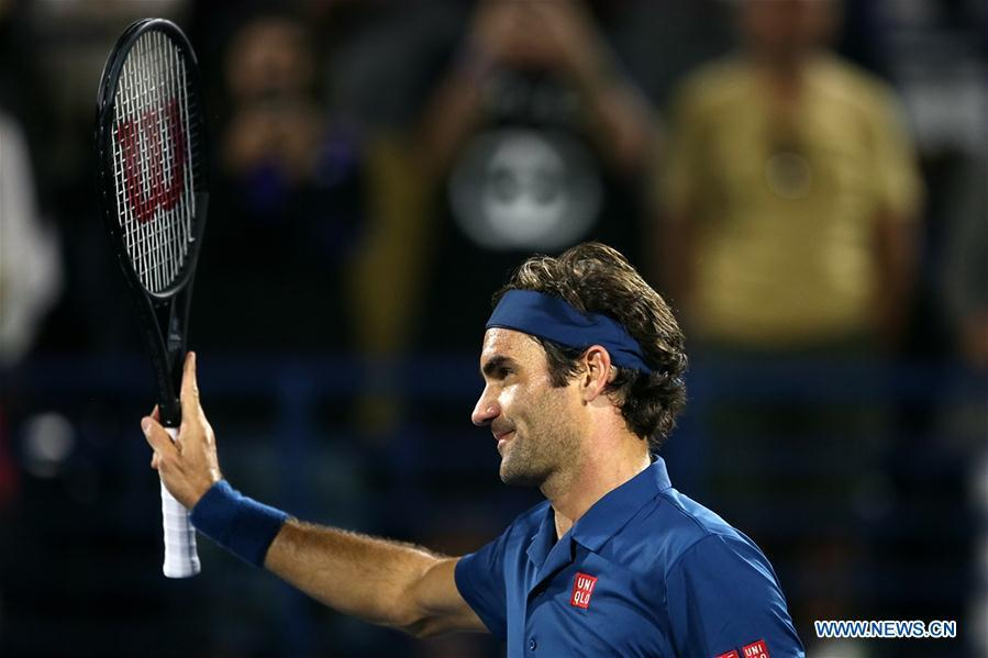 Roger Federer of Switzerland celebrates after winning the singles first round match between Roger Federer of Switzerland and Philipp Kohlschreiber of Germany at the ATP Dubai Duty Free Tennis Championships 2019 in Dubai, the United Arab Emirates, Feb. 25, 2019. Roger Federer won 2-1. (Xinhua/Mahmoud Khaled)