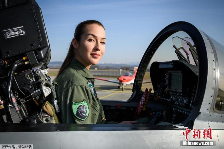 Lieutenant Fanny Chollet, the first woman to fly fighter jet in Switzerland poses during a press conference on Feb. 19, 2019 at Payerne Air Base. (Photo/Agencies)