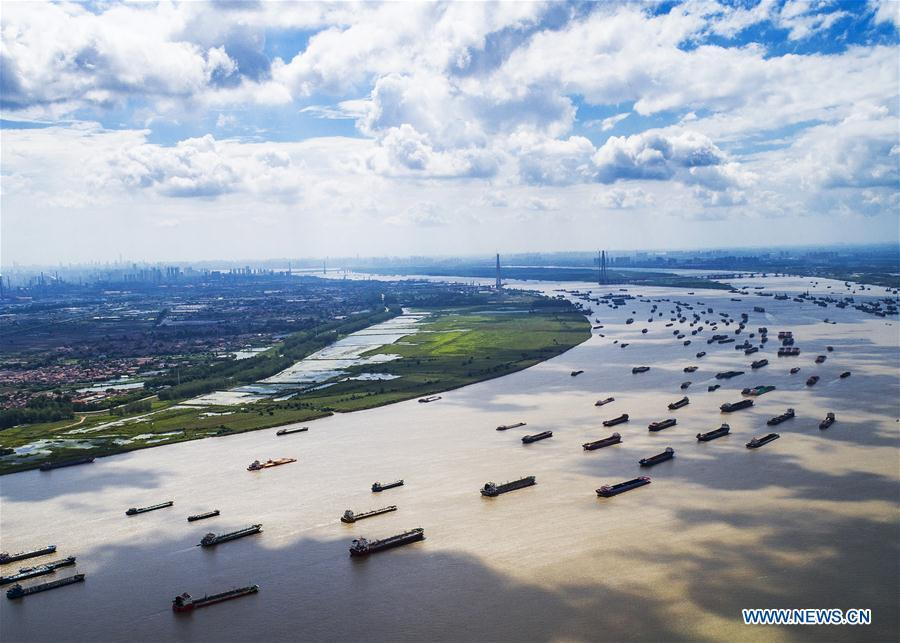 Aerial photo taken on Aug. 13, 2018 shows ships sailing on the Yangtze River near Yangluo Port in Wuhan, capital of central China\'s Hubei Province. China Development Bank (CDB), the world\'s largest development finance institution, has extended trillions of yuan of loans to support the development of the Yangtze River Economic Belt. As of December 2018, outstanding loans to 11 provincial-level regions along the belt amounted to 3.85 trillion yuan (about 575 billion U.S. dollars), according to the CDB. New yuan loans to these regions reached 304.5 billion yuan last year, accounting for 48 percent of the bank\'s total new yuan loans. The funds mainly went to major projects in the fields of ecological protection and restoration, infrastructure connectivity, and industrial transformation and upgrading. The CDB will continue to support ecological protection and green development of the Yangtze River in 2019, said CDB Chairman Zhao Huan. China issued a development plan for the Yangtze River Economic Belt in September 2016 and a guideline for green development of the belt in 2017. The Yangtze River Economic Belt consists of nine provinces and two municipalities that cover roughly one-fifth of China\'s land. It has a population of 600 million and generates more than 40 percent of the country\'s GDP. (Xinhua/Xiao Yijiu)
