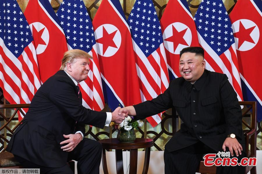 DPRK top leader Kim Jong-un and U.S. President Donald Trump sit down before their one-on-one chat during the second U.S.-DPRK summit at the Metropole Hotel in Hanoi, Vietnam February 27, 2019. (Photo/Agencies)