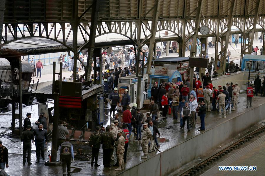 Photo taken on Feb. 27, 2019 shows the train station after a fire in Cairo, Egypt. At least 25 people were killed and more than 40 others wounded when a fire erupted inside the main train station in the city center of Egypt\'s capital Cairo on Wednesday, state-run Nile TV reported. (Xinhua/Ahmed Gomaa)