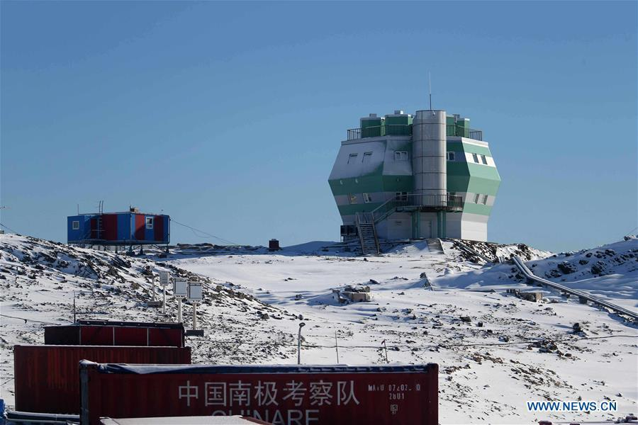 Photo taken on Feb. 9, 2019 shows a building for space physics observation at the Zhongshan Station, a Chinese research base in Antarctica. Over the past 30 years, the Zhongshan Station has grown into a modern \