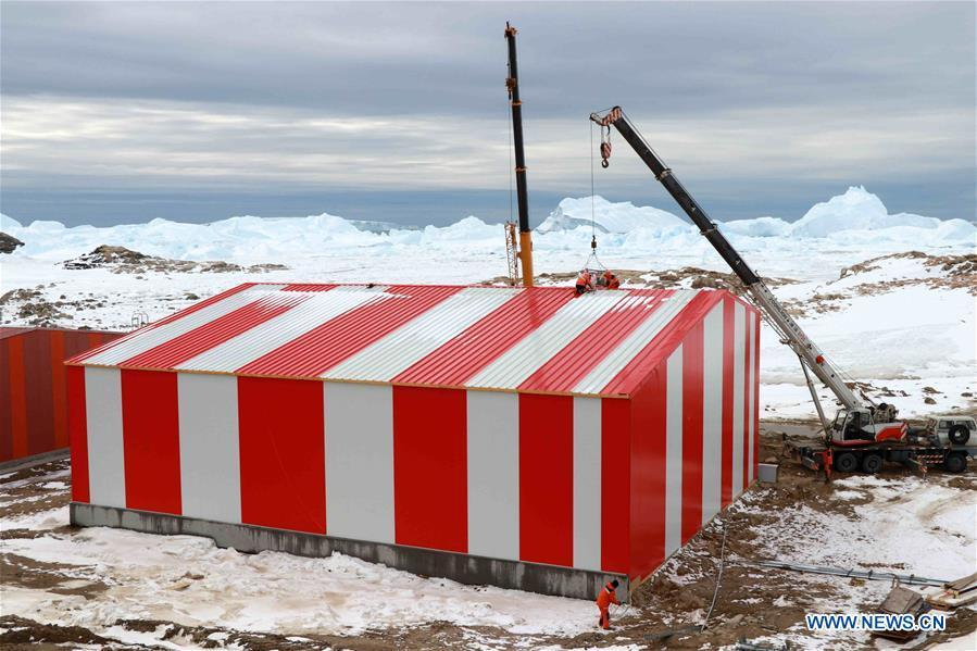 Photo taken on Feb. 8, 2019 shows a new garage under construction at Zhongshan Station, a Chinese research base in Antarctica. Over the past 30 years, the Zhongshan Station has grown into a modern \
