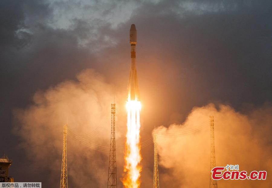 A Soyuz ST-B rocket lifted off from the Guiana Space Center with the first six OneWeb broadband satellites, Feb. 27, 2019. Arianespace, the French launch services provider declared success on the mission. The satellites launched will help OneWeb secure the Ku-band radio spectrum the network will use for global broadband services. (Photo/Agencies)