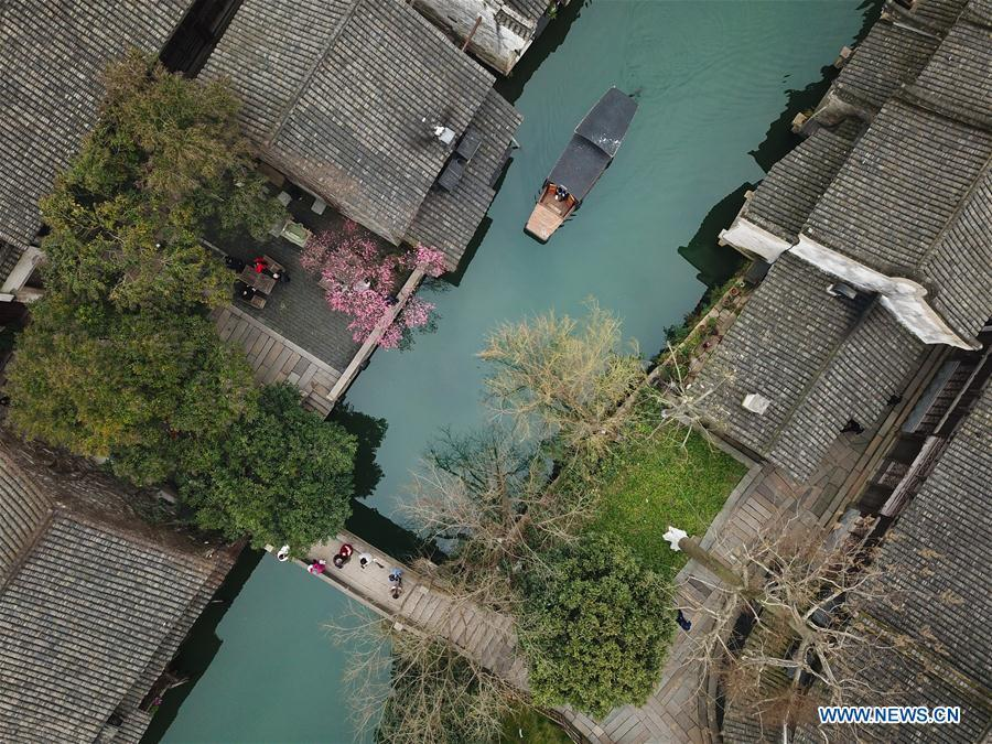 Aerial photo taken on Feb. 25, 2019 shows the Wuzhen scenic spot of Tongxiang City, east China\'s Zhejiang Province. As \