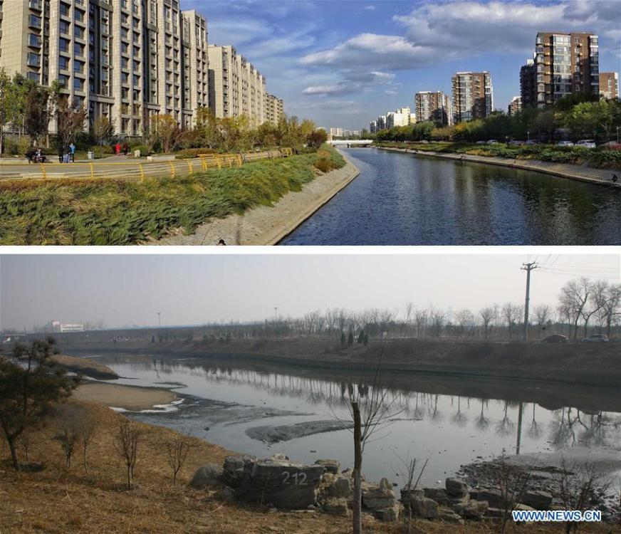 Combo photo shows the residential area along Liangshui River, Oct. 27, 2018 (upper, photo taken by Li Xin) and the view of Liangshui River, Feb. 27, 2013. As \