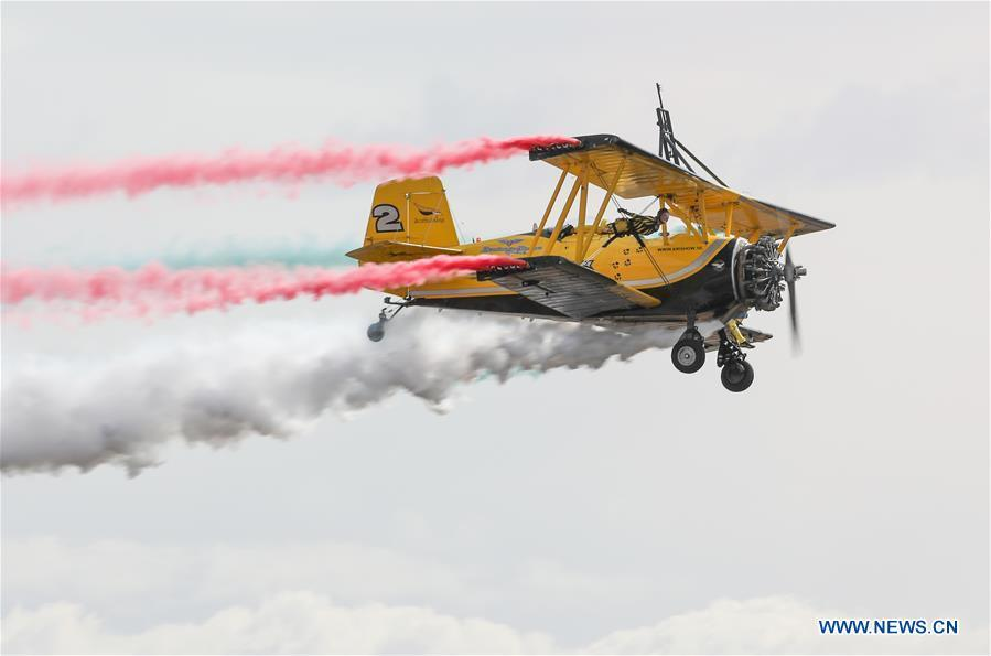 Scandinavian Airshow aerobatic team perform during the Australian International Airshow and Aerospace & Defence Exposition at the Avalon Airport, Melbourne, Feb. 28, 2019. (Xinhua/Bai Xuefei)