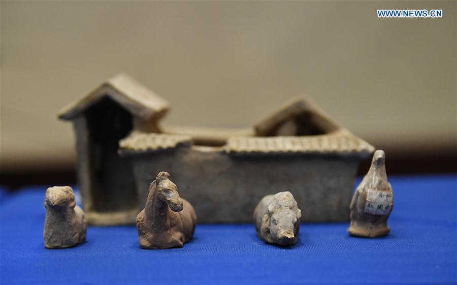 Photo taken on Feb. 28, 2019 shows relics during a repatriation event held in the Eiteljorg Museum of Indianapolis, capital city of state of Indiana, the United States. The United States announced the repatriation of 361 pieces of Chinese relics and artifacts to China at a ceremony on Thursday. (Xinhua/Liu Jie)