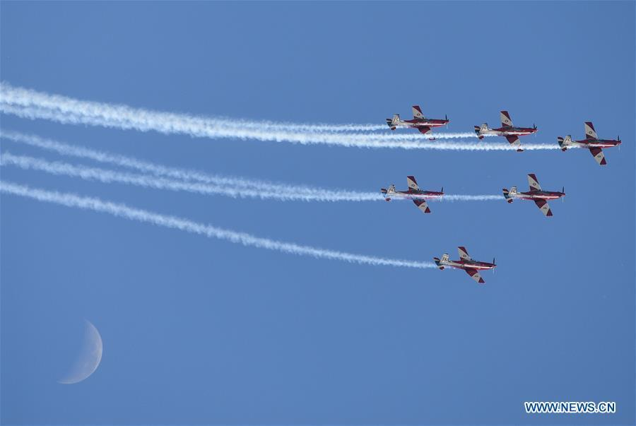 Royal Australian Air Force Roulettes aerobatic team perform during the Australian International Airshow and Aerospace & Defence Exposition at the Avalon Airport, Melbourne, on Feb. 28, 2019. (Xinhua/Bai Xuefei)Scandinavian Airshow aerobatic team perform during the Australian International Airshow and Aerospace & Defence Exposition at the Avalon Airport, Melbourne, Feb. 28, 2019. (Xinhua/Bai Xuefei)