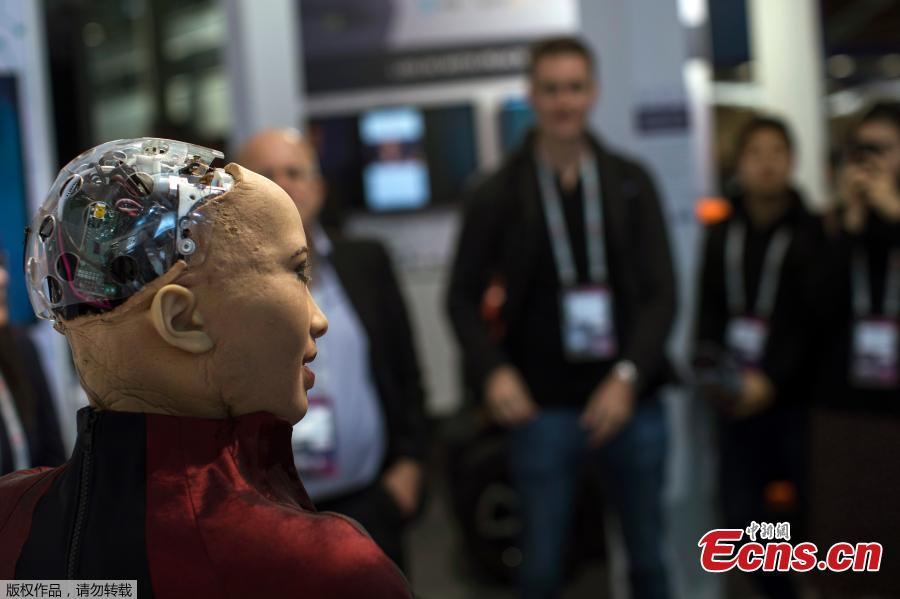 Sophia, the humanoid robot, created by Hanson Robotics, exhibited during the Mobile World Congress in Barcelona, Spain, Feb. 26, 2019. The annual Mobile World Congress (MWC) runs from 25-28 February in Barcelona, where companies from all over the world gather to share new products. (Photo/Agencies)