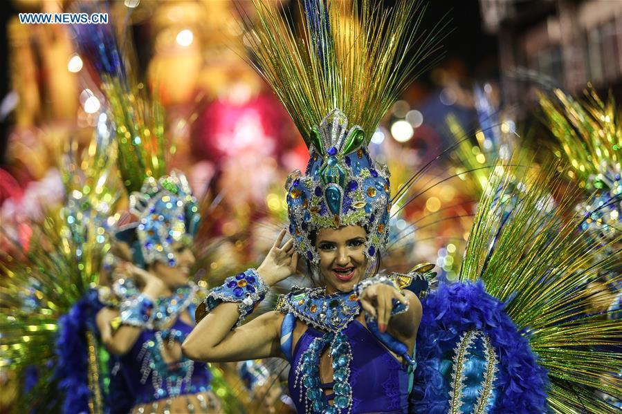 Revellers from a samba school perform during the carnival parade in Sao Paulo, Brazil, March 2, 2019. (Xinhua/Rahel Patrasso)