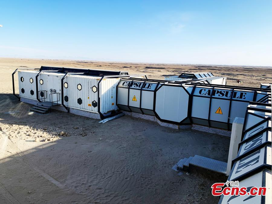 A living capsule at China\'s Mars Camp in Qinghai Province, which opened on March 1, 2019. Up to 100 people can be accommodated in capsules like this one at the 5.4 hectare simulation Mars base. (Photo: China News Service/Sun Rui)