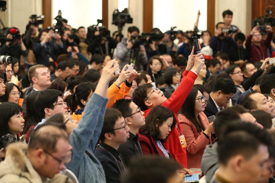The 13th National People\'s Congress, the top legislature, holds a news conference in Beijing on March 4, 2019. (Photo/chinadaily.com.cn)