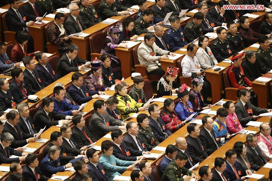 Members of the 13th National Committee of the Chinese People\'s Political Consultative Conference (CPPCC) attend the opening meeting of the second session of the 13th CPPCC National Committee at the Great Hall of the People in Beijing, capital of China, March 3, 2019. (Xinhua/Ding Haitao)