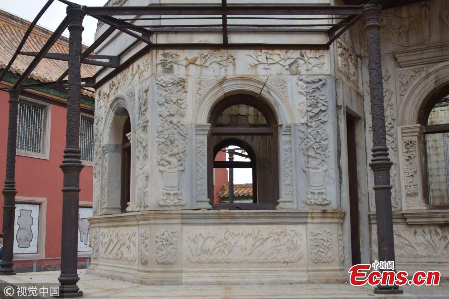A view of the unfinished Hall of Prolonging Happiness (Yanxi gong) in the Palace Museum in Beijing. In 1909, the Qing Dynasty government initiated the construction of a western-style \