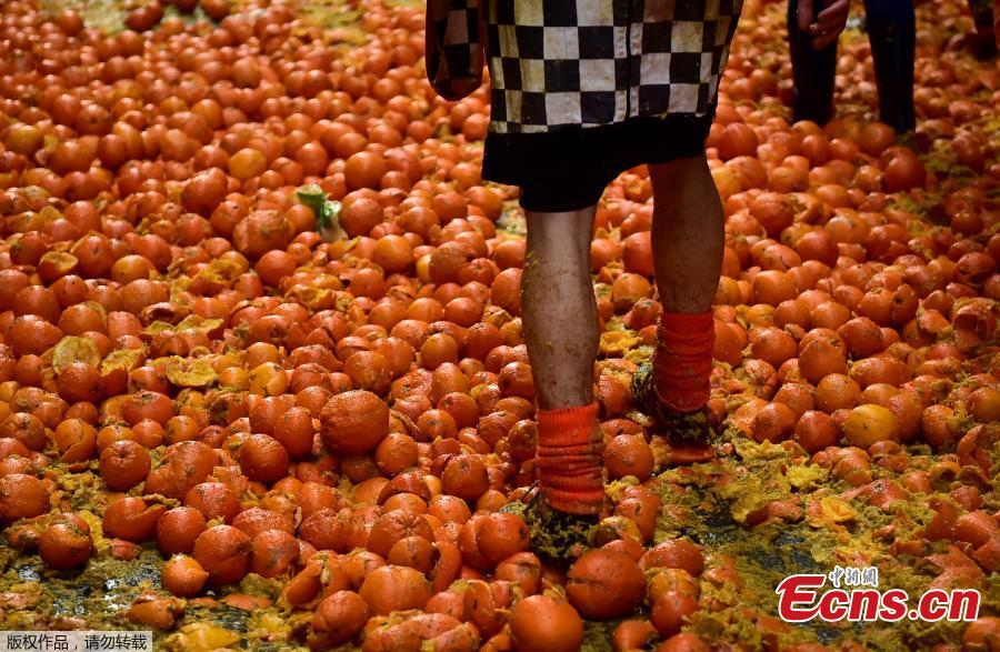 A reveler stands within smashed oranges as different teams take part in a fight with oranges during an annual carnival battle in Ivrea, Italy, March 3, 2019. (Photo/Agencies)