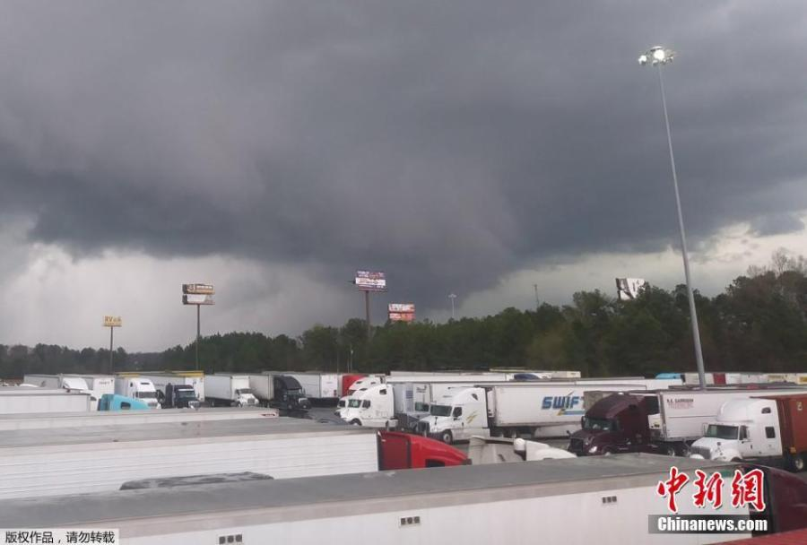 A view of a tornado seen in the distance at Warner Robins, Georgia, U.S., March 3, 2019. At least 22 people were dead in a town worst hit by \