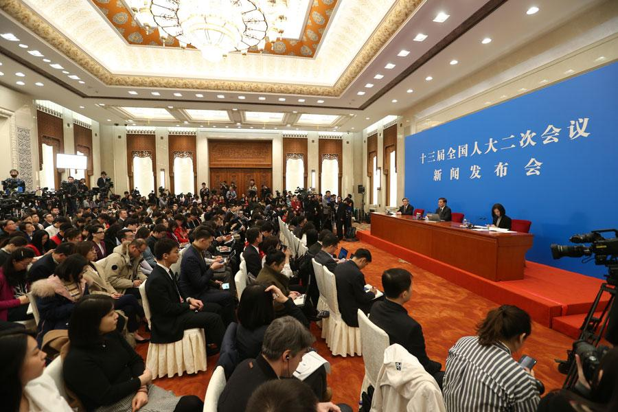 he 13th National People\'s Congress, the top legislature, holds a news conference in Beijing on March 4, 2019.  (Photo/chinadaily.com.cn)