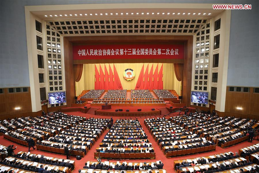 The second session of the 13th National Committee of the Chinese People\'s Political Consultative Conference (CPPCC) opens at the Great Hall of the People in Beijing, capital of China, March 3, 2019. (Xinhua/Yao Dawei)
