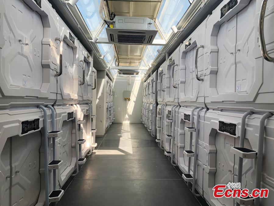 One of the living capsules at China\'s Mars Camp, a Mars simulation base that opened on March 1, 2019. The 5.4 hectare camp can hold 100 people and comes equipped with sleeping capsules for 60 people.  (Photo: China News Service/Sun Rui)