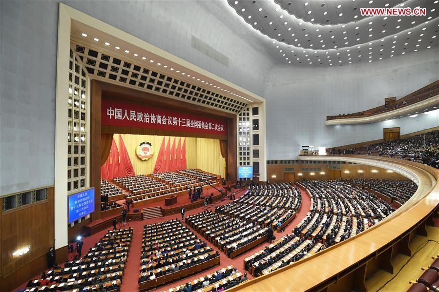 The second session of the 13th National Committee of the Chinese People\'s Political Consultative Conference (CPPCC) opens at the Great Hall of the People in Beijing, capital of China, March 3, 2019. (Xinhua/Gao Jie)