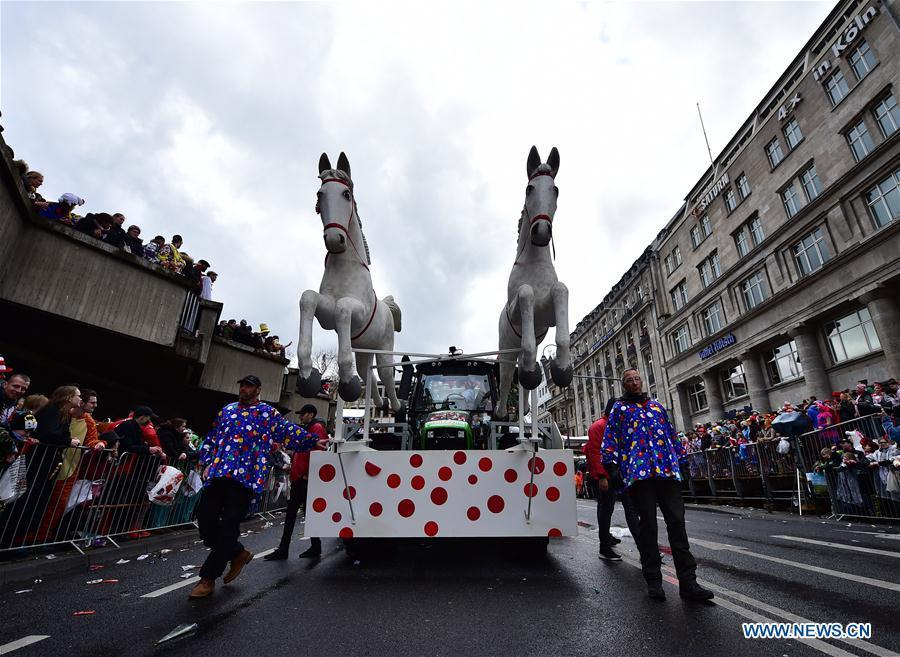 A float runs during the Rose Monday carnival parade in Cologne, Germany, on March 4, 2019. The Rose Monday parade marks the high point of Cologne\'s annual carnival. (Xinhua/Lu Yang)