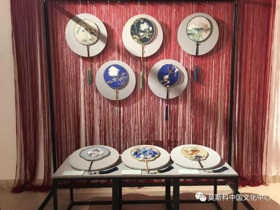 A collection of Chinese  tuanshan, or round fans, form part of the exhibition, Feb. 27, 2019. (Photo/Chinaculture.org)