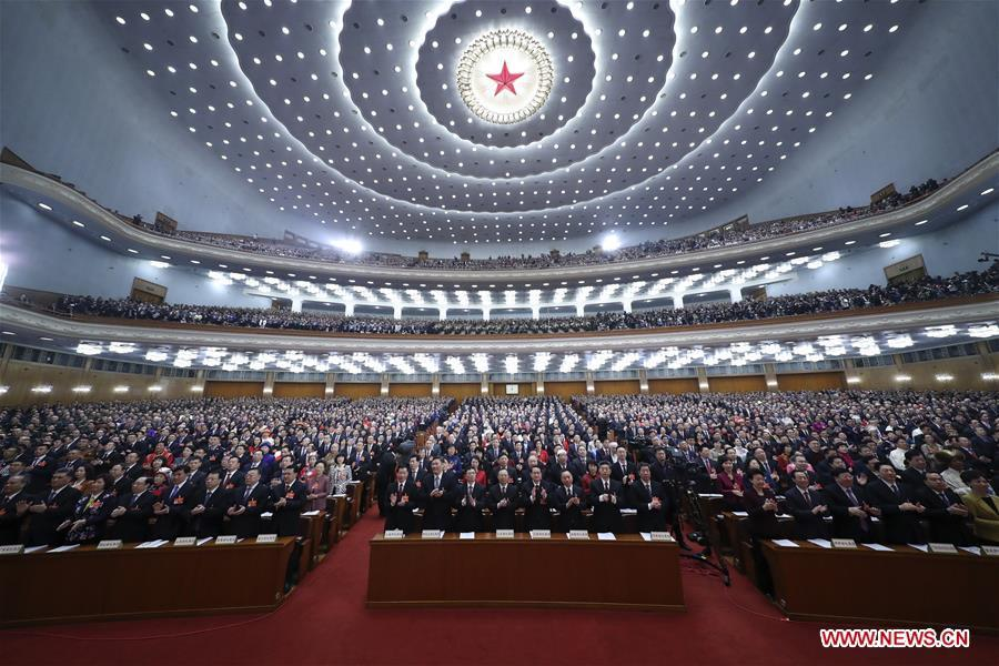 The second session of the 13th National People\'s Congress opens at the Great Hall of the People in Beijing, capital of China, March 5, 2019. (Xinhua/Ju Peng)