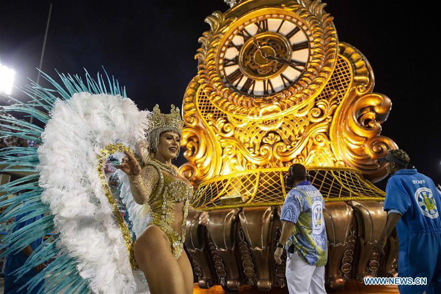 A reveller of the samba school \