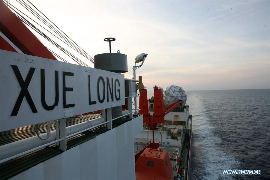 Photo taken on March 4, 2019 shows China\'s research icebreaker Xuelong sailing in the Northern Hemisphere. Xuelong, carrying members of China\'s 35th research mission to Antarctica, crossed the equator and returned to the Northern Hemisphere on early Monday morning. (Xinhua/Liu Shiping)