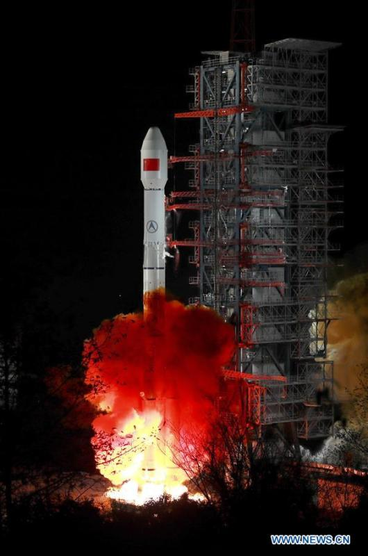 A Zhongxing-2D satellite is launched into space on a Long March-3B carrier rocket from the Xichang Satellite Launch Center in Sichuan Province at 1:11 a.m., Jan. 11, 2019. The China Manned Space Engineering Office (CMSEO) announced Monday that the core module of the country\'s space station, the Long March-5B carrier rocket and its payloads will be sent to the launch site in the second half of this year, to make preparations for the space station missions. China is scheduled to complete the construction of the space station around 2022. It will be the country\'s space lab in long-term stable in-orbit operation. (Xinhua/Liang Keyan)