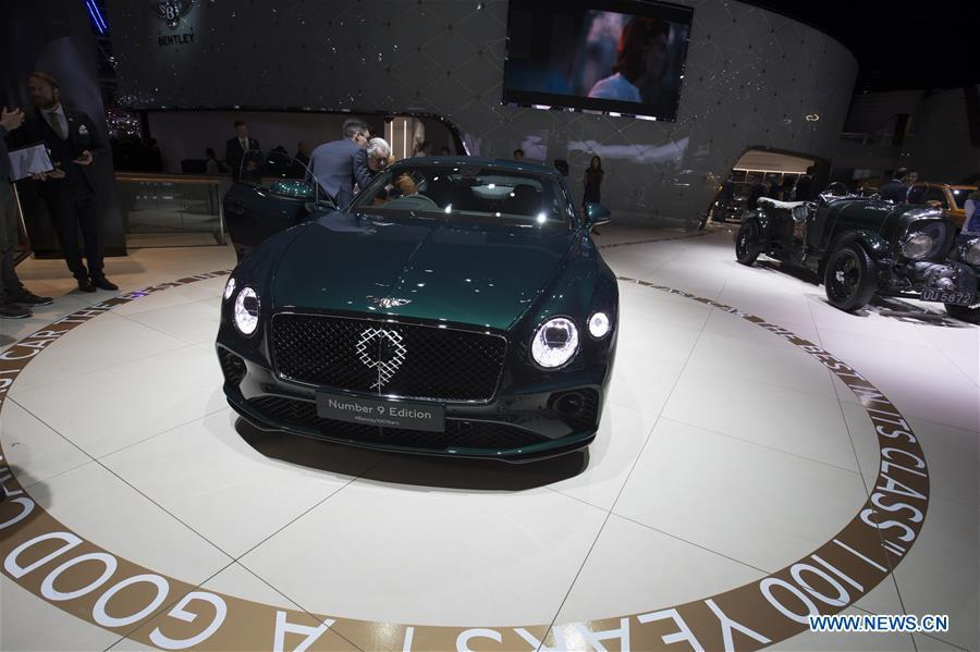 Photo taken on March 5, 2019 shows the new Bentley Continental GT Number 9 Edition at the 89th Geneva International Motor Show in Geneva, Switzerland. The Motor Show will open to the public from March 7 to March 17. (Xinhua/Xu Jinquan)