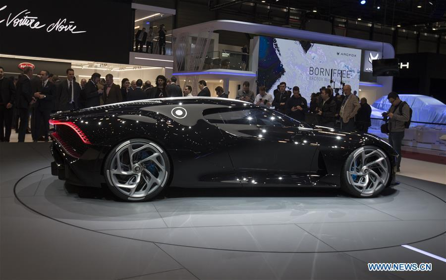 Photo taken on March 5, 2019 shows the new Bugatti La Voiture Noire at the 89th Geneva International Motor Show in Geneva, Switzerland. The Motor Show will open to the public from March 7 to March 17. (Xinhua/Xu Jinquan)