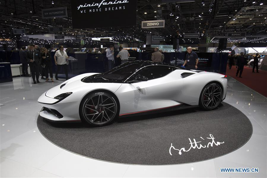 Photo taken on March 5, 2019 shows the new Pininfarina Battista at the 89th Geneva International Motor Show in Geneva, Switzerland. The Motor Show will open to the public from March 7 to March 17. (Xinhua/Xu Jinquan)