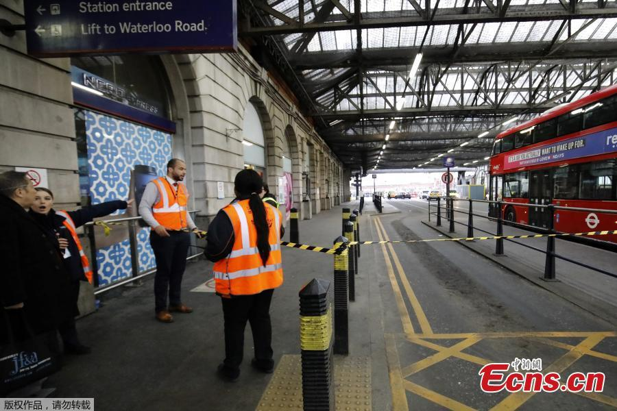 Security personnel stand guard outside Waterloo station in central London on March 5, 2019, following a report of a suspicious package at the station. (Photo/Agencies)
