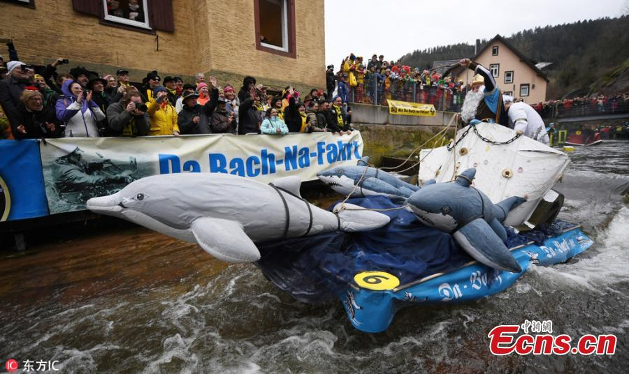 Photo taken on March 4, 2019 shows the Da-Bach-na-Fahrt in Schramberg, Germany. With a goal to arrive at the finish with dry feet, 42 participants drove with their \