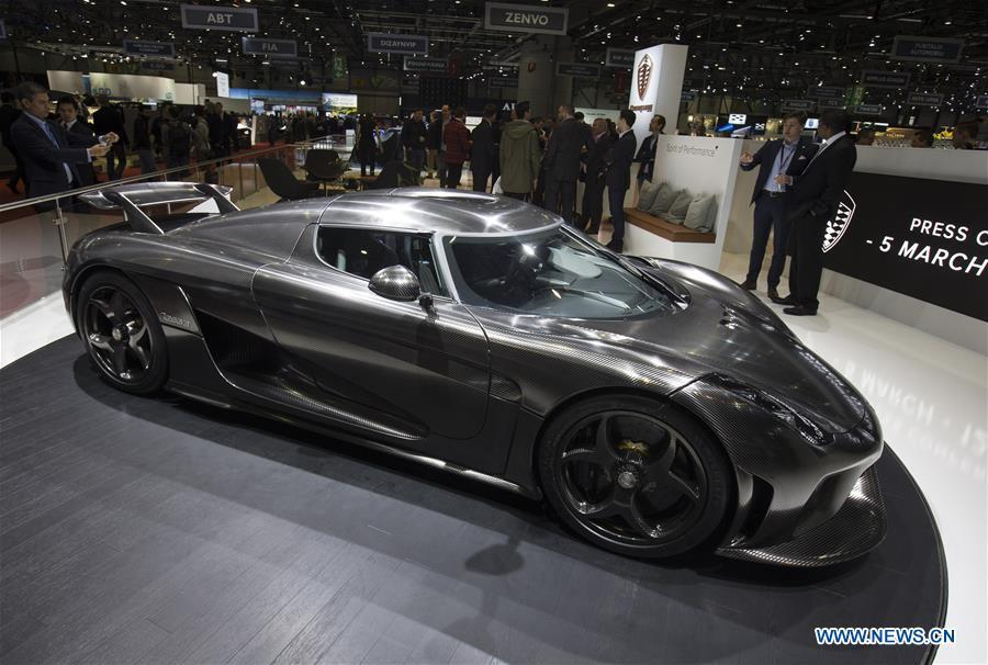 Photo taken on March 5, 2019 shows the new Koenigsegg Jesko at the 89th Geneva International Motor Show in Geneva, Switzerland. The Motor Show will open to the public from March 7 to March 17. (Xinhua/Xu Jinquan)