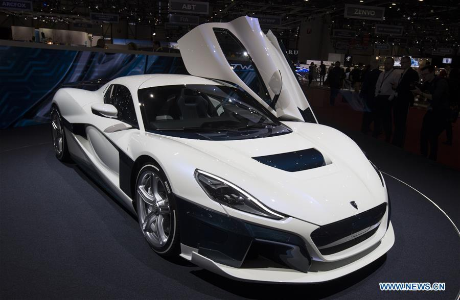 A Rimac C Two is seen on the first press day of the 89th Geneva International Motor Show in Geneva, Switzerland, on March 5, 2019. Featuring about 220 world exhibitors, the 89th Geneva International Motor Show will be opened to the public from March 7 to 17. (Xinhua/Xu Jinquan)