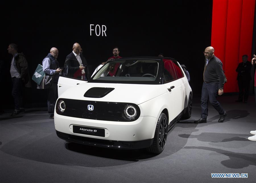 A Honda e Prototype electric car is seen on the first press day of the 89th Geneva International Motor Show in Geneva, Switzerland, March 5, 2019. Featuring about 220 world exhibitors, the 89th Geneva International Motor Show will be opened to the public from March 7 to 17. (Xinhua/Xu Jinquan)