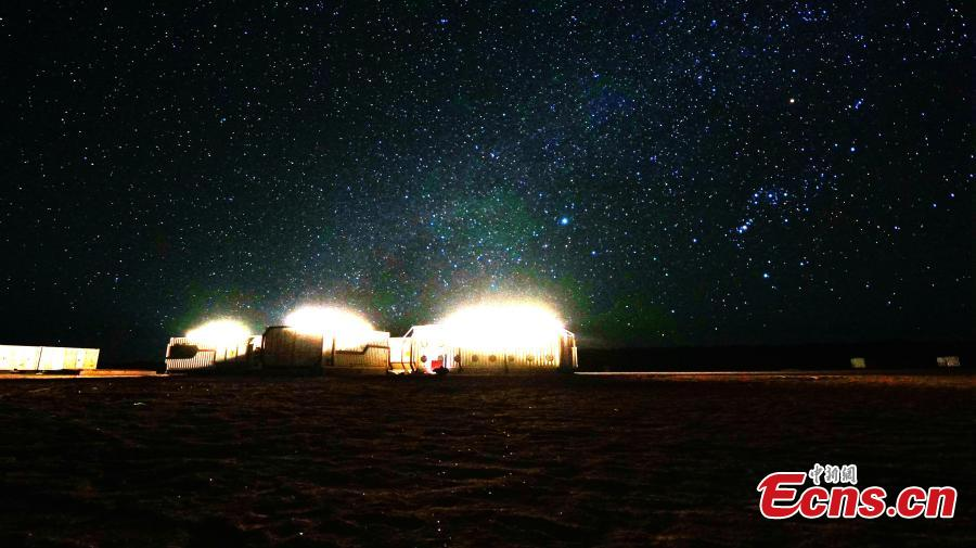 The stars in the sky observed at the Mars Camp in Lenghu Town, Northwest China\'s Qinghai Province, March 5, 2019. The camp is named for its unique Yadan landforms, or dry areas with wind erosion landscape. (Photo: China News Service/Ye Ziyi)