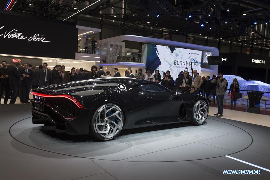A Bugatti La Voiture Noire is seen on the first press day of the 89th Geneva International Motor Show in Geneva, Switzerland, on March 5, 2019. Featuring about 220 world exhibitors, the 89th Geneva International Motor Show will be opened to the public from March 7 to 17. (Xinhua/Xu Jinquan)